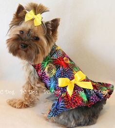 Fireworks! 4th of July Dog dress clothes pet small | eBay