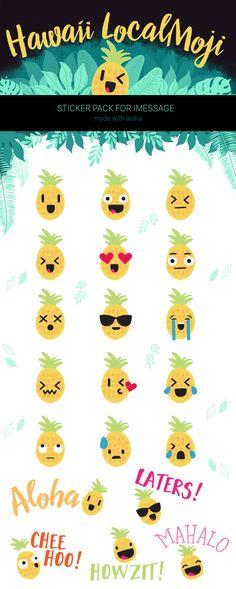 Hawaii Pineapple emoji stickers for iOS10 iMessage