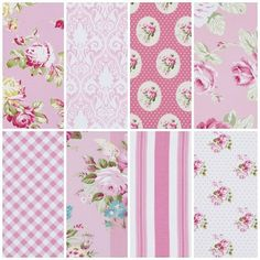 TANYA WHELAN Sunshine Roses PINK Collection 8 by BellatiqueFabrics, $74.00