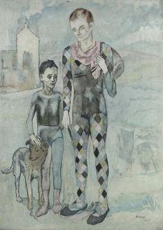 Jacques Villon (French: 1875-1963) - Les Saltimbanques Aquatint in colours, 1922