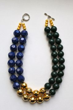 NEW FOR FALL The Cortland - color block navy, hunter green and gold statement necklace. $85.00, via Etsy.
