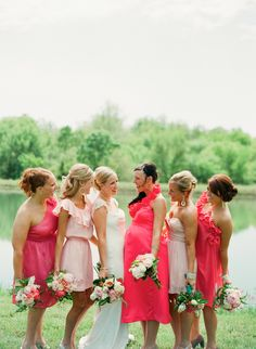 Love the colors of this mismatched bridesmaid dresses ~ Alea Lovely Photography