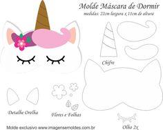 Molde Máscara de Dormir Unicórnio - Molde para Feltro - EVA e Artesanato, Molde Máscara de Dormir Unicórnio - Molde para EVA - Feltro e Artesanato Felt Crafts, Diy And Crafts, Crafts For Kids, Paper Crafts, Sewing Crafts, Sewing Projects, Unicorn Mask, Unicorn Balloon, Felt Mask