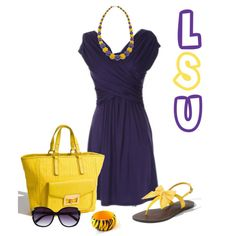 Lovely Ensemble if I do say so myself!! Thanks Aunt Cathie!   LSU Gameday outfit - so cute!