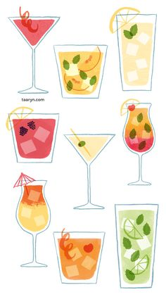 Illustrated cocktails for recipe cards for Zeal Media's birthday party. Cocktail Illustration, Cute Illustration, Watercolor Illustration, Old Fashioned Drink, Old Fashioned Cocktail, Pop Art Wallpaper, Fashion Wallpaper, Cocktails Drawing, Cocktail Book