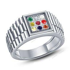 .925 Sterling Silver Multi-Color Stone Navratna Men's Ring in 14k White Gold Gp #Aonedesigns #NavratnaRing