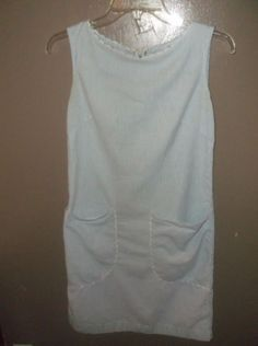$2.96 Dress Charmode Blue Sears Womens Outfit Small Vintage Seer Sucker Fabric #Sears #Everyday