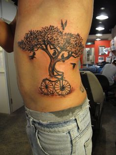 from the pinner: I love trees. I love tree tats. The bike is a nice touch....geee wiz I love trees!
