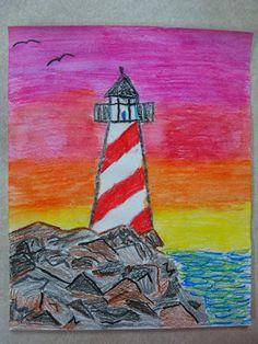 Art Lessons For Kids, Art Lessons Elementary, Lighthouse Art, 6th Grade Art, Jr Art, Young Art, Art Curriculum, School Art Projects, Art Classroom