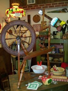 Second Time Around Antiques - Braidwood, Illinois Completely working spinning wheel from Pennsylvania