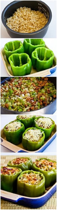 Stuffed Peppers with Brown Rice, Italian Sausage, and Parmesan. (I'd love this with yellow, red, or orange peppers instead of green!)