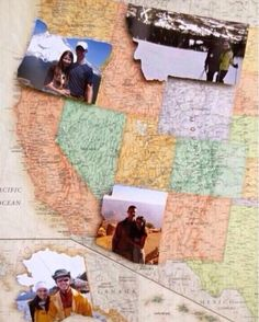 MAP YOUR TRAVELS WITH PICTURES! Buy a map of the United States that is fairly large then whenever you travel to one of the States take a picture. Next cut the picture out in the shape of the state that you traveled to and paste it on the map on that state! You can do this with a partner, friend, or just yourself! I think it is a great idea and I'd love to do it one day! *note that the people in the picture are not me, I found this on Instagram and just wanted to share it.