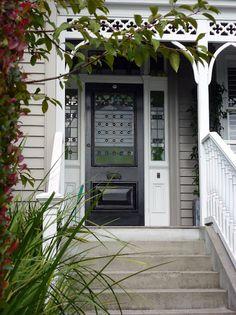 A favourite Auckland villa door - Bestpin Front Stairs, Deck Stairs, Front Deck, Front Entry, British Colonial Decor, Porch Steps, Exterior Paint Colors, Paint Colours, External Doors
