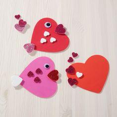 Valentine crafts - Valentine's day foam heart fish – Valentine crafts Valentines Day Crafts For Preschoolers, Preschool Valentine Crafts, Valentine's Day Crafts For Kids, Valentines Day Activities, Valentines Day Decorations, Valentines For Kids, Valentine Ideas, Homemade Valentines Day Cards, Printable Valentine