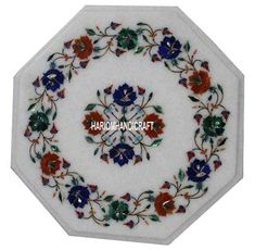 "15"" Marble Coffee Restaurant Table Top Lapis Inlay Rare Outdoor Decor Art H3051A #HariomHandicraftExport #ArtsCraftsMissionStyle #MultiMosaicStone #WhiteTopTable #MarbleWhiteStone #FloralInlayArt #DecorativeTable #Furniture #Marble #SemiPreciousDecor #GemstoneArts"