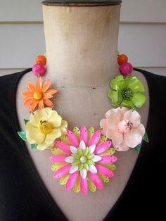 Vintage Necklace Enamel Flower Necklace Flower by rebecca3030, $185.00