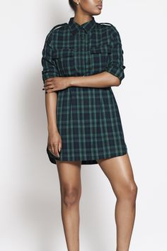 Kettle black flannel shirt dress