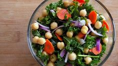 Raw Kale and Garbanzo Salad  http://www.poorgirleatswell.com/2012/01/recipe-raw-kale-garbanzo-salad-with-spicy-citrus-vinaigrette.html