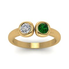 2 stone open bezel Round Cut Alternative Engagement Ring with Green Emerald in 18K Yellow Gold exclusively styled by Fascinating Diamonds
