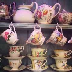 Tea and Roses : Pretty vintage china in our coffee shop.