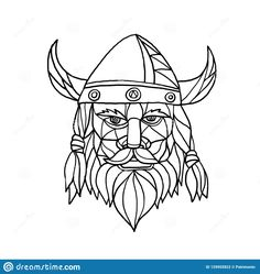 Mosaic low polygon style illustration of head of a viking, norseman or barbarian viewed from front on isolated white background in black and white. Norse, Polygon, Viking Logo, Illustration, Vikings, Mosaic, Stock Images Free, Modern Graphic Design, Black And White