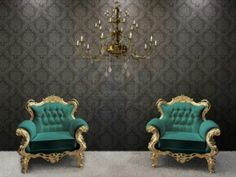 Picture of Royal interior. Golden chandelier with luxurious armchair on black ornament background. stock photo, images and stock photography. Royal Furniture, Mirrored Furniture, City Furniture, Cheap Furniture, Discount Furniture, Furniture Buyers, Royal Chair, Model House Plan, Throne Chair