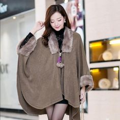 Womens Batwing-Sleeved Faux Fur Collar Cloak Cape Mid Long Trench Coat Plus Size
