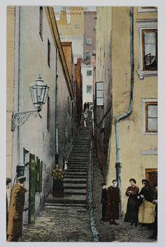 Pocztówka: Warszawa, ul. Kamienne Schodki (ante 1918)