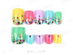 カラフルなブライトカラーに星のホログラムを乗せポップに... Mani Pedi, Nail Designs, Nail Art, Nails, Hairstyles, Color, Makeup, Fashion, Nail Manicure