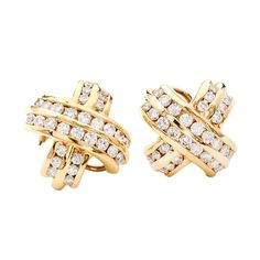 Diamond Yellow Gold 'X' Design Clip Post Earrings | 1stdibs.com