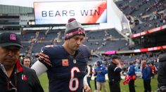 Bears quarterback Jay Cutler leaves the field after Sunday's win over the Raiders. 10/4/15.