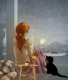 Memories me rain thoughts girl illustration I Love Rain, Animation, Gif Animé, Anime Art Girl, Rainy Days, Rainy Night, Belle Photo, Cat Art, Fantasy Art