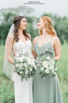Look stunning with your bridal party with Kennedy Blue's 'Sage' green bridesmaid dresses! Available in 100+ styles, 50+ colors, sizes 00-32, and easy to mix & match with other styles. Find your perfect bridesmaid dress online at Kennedy Blue! // green bridesmaid dresses // mismatched dresses // mix and match bridesmaid dresses // spring wedding // garden wedding // sage green // white flower bouquet // green bridal party