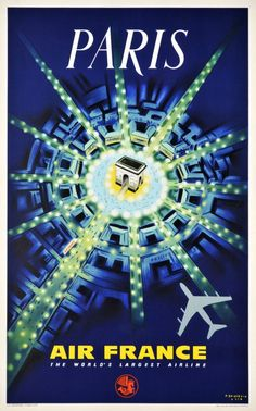 Air France Paris Poster La ville lumiere, le centre de l'haute couture. www.corsidimoda.it