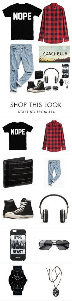 """""""coachella"""" by gorlmoria on Polyvore featuring Dsquared2, BOSS Hugo Boss, Urban Outfitters, Converse, Master & Dynamic, LES (ART)ISTS, Ray-Ban, Nixon, NOVICA and men's fashion"""