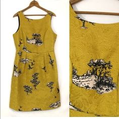 """Wildlife print Jacquard Deer Geese nature New, unworn condition; tags attached. style name: Ophelia dress in chartreuse.    Bust 38"""" waist 32"""" hip 44"""" length 36.5"""".     Toile-inspired jacquard in vibrant chartreuse is tailored into a head-turning sheath dress that's sure to make you the star of the party. Pockets!  Hidden back-zip closure. Fully lined.  50% polyester, 50% cotton. Dry clean or hand wash cold, dry flat. By Darling; imported. Dresses. Darling UK Dresses Midi"""