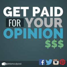 Do you want to earn extra money online? Share your opinions in exchange for cash! Join Opinion Outpost today. Click here for the sign up form. https://www.opinionoutpost.com/general/recruitment/Facebook?jtype=d&cpid=7999&offer_id=1784&affiliate_id=2530&aff_sub=153&transaction_id=102b73b8f511549bb158069c2fe66e&params=