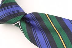 CLASSIC Ben Silver Green Purple Gold Striped mens Silk Tie #BenSilver #NeckTie