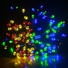 100 LED 55FT 8 Modes RGB Multi color Solar Fairy String Lights with waterproof switch for outdoor, gardens, homes, Christmas party