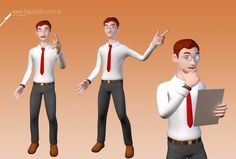 Businessman mascot design for tech consulting website.  #businessman #3d #character #mascot #design #studio #envato #office #worker #tie #glasses #cartoon #rig #cinema4d #manager