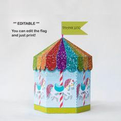 EDITABLE Glitter Unicorn Carousel Favor Box