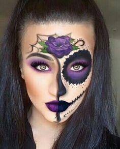 Halloween Eye Makeup, Halloween Eyes, Pretty Halloween, Halloween Stuff, Vintage Halloween, Sugar Skull Costume, Sugar Skull Makeup, Sugar Skull Face Paint, Sugar Skulls