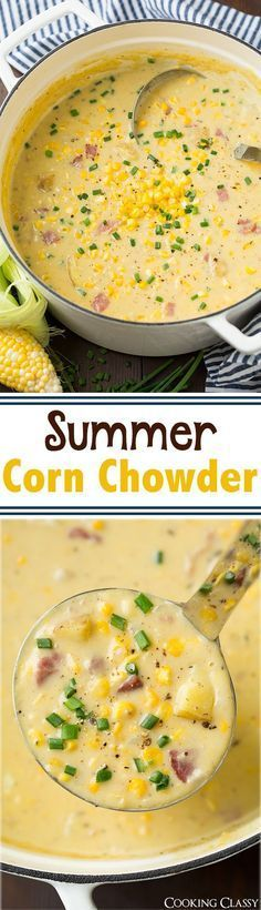 Summer Corn Chowder Recipe - this is the perfect summer soup! Packed with corn a. - Summer Corn Chowder Recipe – this is the perfect summer soup! Packed with corn and its creamy and - Crockpot Recipes, Soup Recipes, Dinner Recipes, Cooking Recipes, Healthy Recipes, Easy Cooking, Budget Recipes, Hotdish Recipes, Dinner Ideas