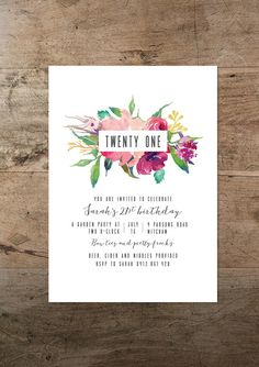 birthday invitation, printable twenty first invitation, floral, boho… Floral Invitation, Invitation Design, Invitation Cards, 21 Party, Party Time, 21st Birthday Invitations, Wedding Invitations, Print Invitations, Wedding Stationery