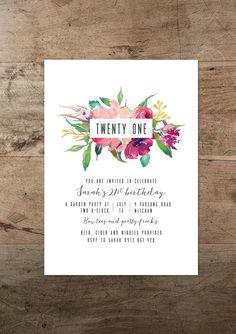Minimal watercolour flora twenty first invitation / RMcreative More