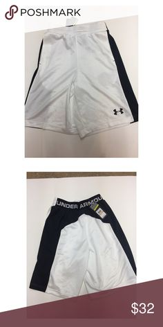 Under Armour Kiss the Glass Basketball Shorts NWT White and black basketball shorts by UA. Fuller cut for complete confort. Closed hole mesh. Mesh hand pockets. Reflective UA logo . Brand new with tags. Style 1248359 Under Armour Shorts Athletic