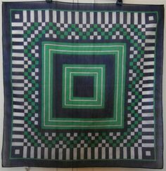 Vintage 1960 s Green, Navy & White Squares/ Chequered Print Sheer Bandana Scarf