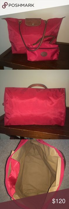"""Longchamp Le Pliage Tote & Le Pilage Pouchette EUC, there are some very minor discolorations that are barely noticeable, I only noticed when I used the flash. Tiny holes in the bottom four corners of the bag, other wise the outside, inside and bottom of bag are in great condition! 12 ¼""""W x 11 ¾""""H x 7 ½""""D. Nylon with leather trim. Comes with Le Pilage Pouchette that I will sell separately if asked. Tote was bought for $145, Pouchette bought for $55 Longchamp Bags Totes"""