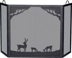 Uniflame® Black 3-Panel Wrought Iron Fireplace Fire Screen with Deer in Forest Scene