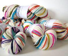 Here n There- handspun self striping merino wool yarn